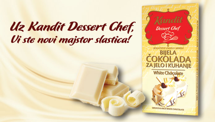 New dessert chef product - White chocolate for cooking and eating