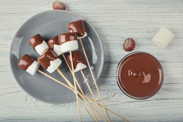 Marshmallows dipped in chocolate
